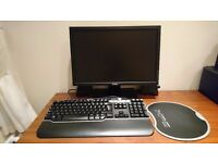 Dell computer monitor, keyboard and mouse mat