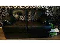 2 black leather 2 seater couches, Very Comfortable, Slightly worn