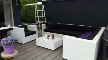 Aanbieding design Loungeset wit wicker hoekbank gratis lev.