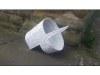 Wicker Fire Log Carrier Basket White Vintage Rustic Retro Step Tidy Stair Handle