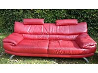 modern red leather settee and matching armchair
