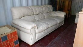 Cream Leather sofa for sale 3 -seater