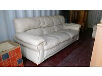 Cream Leather sofa for sale 3 -seater