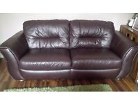 2 Leather sofas DFS one 2 seater one 3 seater 3&2 settees couches