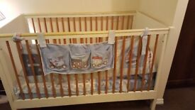 Mamas and papas cot bed with bedding