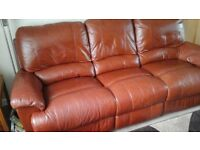for sale 3 seater leather settee in russet colour