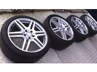 "MERCEDES E CLASS GENUINE 18"" AMG ALLOYS 5 X 112 WITH TYRES BARGAIN £350"