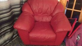 Real leather deep red burgandy sofa chair poffe
