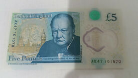 Collcetable 5 Pound Note - Number AK47 101570 in Mint condition
