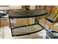 Fish tank 80x35x40H cm bow front 112 liters with lighting hood brand new