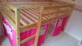 Cabin Bed Mid Sleeper with Tent