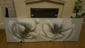 Stunning silver canvas painting
