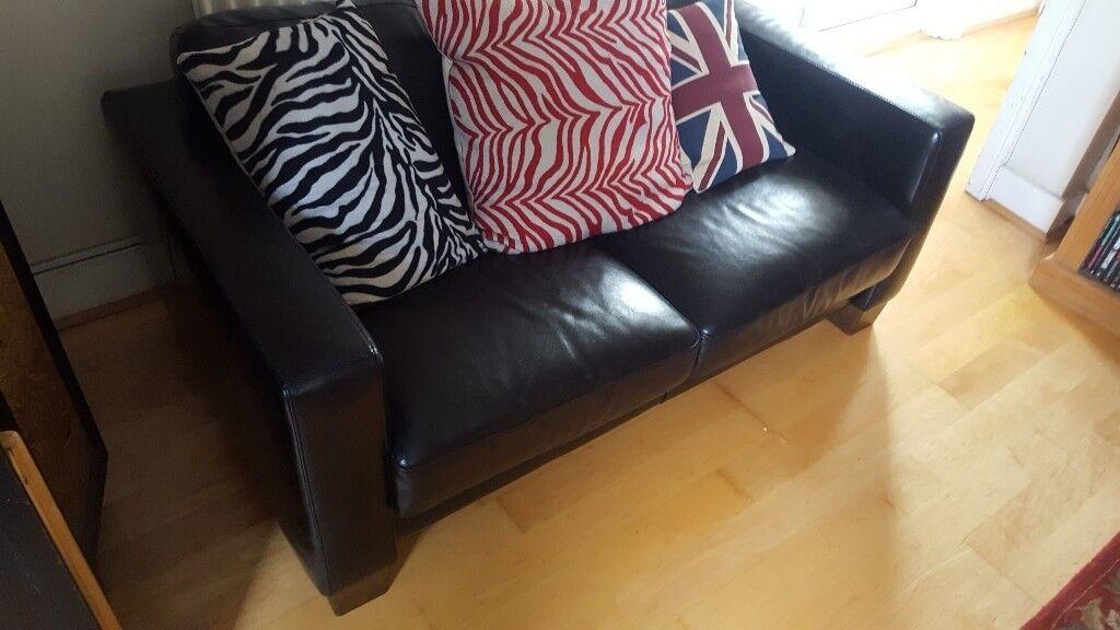 Leather Sofa - 2 Seater & 1 Seater - Black by Sofaitalia