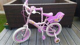 """Girls Disney Princess 14"""" bike with stabilizers"""