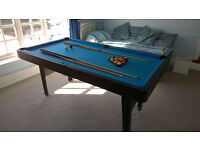 Pool Table (Blue) with balls and cues