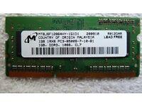 MICRON 1GB 1066MHZ PC3-8500S UNBUFFERED CL7 NON ECC DDR3 SDRAM SODIMM 204 pin