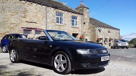 2003 AUDI A4 2.4 CONVERTIBLE WITH RARE MANUAL GEARBOX FSH FINISHED IN BLACK WITH FULL LEATHER
