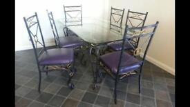 Dining table and 6 chairs, matching coffee table