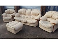 Lovely cream leather sofa suite.3+1+1 +footstool.good used condition.can deliver