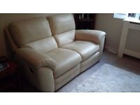 2 seat cream leather reclining sofa