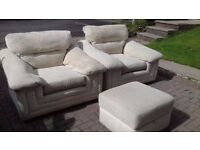 DFS Cream Chenille arm chairs (x2) with matching footstool