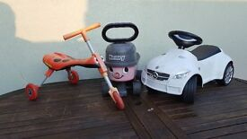 Selection of outdoor toys scuttlebug, ride on car & ride on Henry