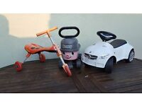 Selection of outdoor toys scuttlebug, ride in car & ride on Henry