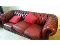 3 seater leather chesterfeild
