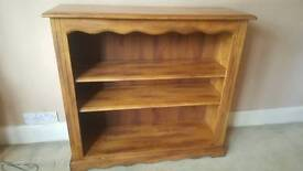 Solid wood bookcase antique oak finish.