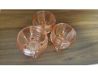 Three Small Pale Orange Glass Ramekins