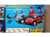 Scalextric set with extension packs and additional cars