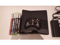 Xbox 360 slim 250GB + original controller + 5 games + Power cables
