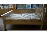 Solid Wood Double Bed plus Mattress, Finished in BrilliantWhite
