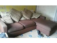free brown fabric corner sofa