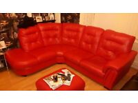 Corner sofa red and foot stool