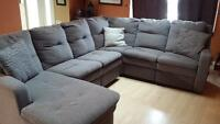 Grey Sectional Reclining Couch ! Need gone ASAP!