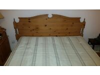 King size bed, divan with drawers, pine headboard, orthopaedic style firm mattress