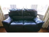 Black leather recliner two seater sofa