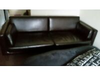 3 Seater Leather Black Sofa new condition