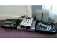 DJ Turntables,Mixer,Receiver & Speakers.