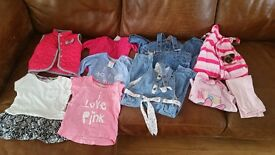 Girls bundle summer gilet, clothes, sandals & dresses 12-18 months 27 items great condition