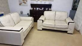 2 x modern leather 2 seater sofas