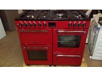 BELLING Kensington 100DFT Dual Fuel Range Cooker - Red & Chrome