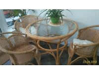 Wicker table and 3 chairs