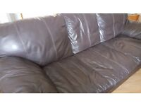 DFS sofa brown leather good condition