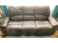 Dark brown reclining leather sofa 3 seater