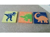 3 dinosaur canvas