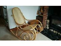 Bentwood rocking chair antique style maple wood with rattan seat