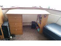 desk, chairs, sofa, wardrobe, clothes hang, bed, matress, carpets