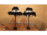 Two Shabby Chic Feathered Lampshades and bases